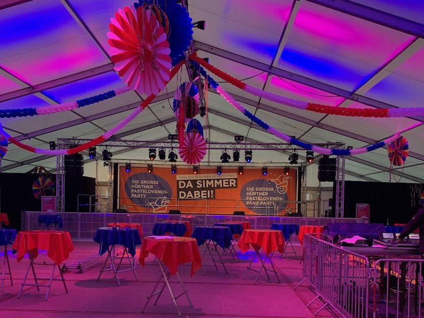 Veranstaltungstechnik von Rheinland Akustik bei der Hürther Fastelovend Party